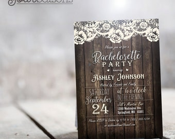 Rustic Country Bachelorette Party Invitation - Personalized Printable DIGITAL FILE
