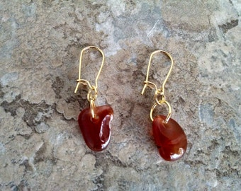 Red Carnelian Earrings, Natural Gemstones