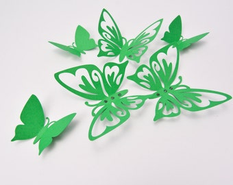 Green Wall Decor Butterflies - Wall Art Butterflies - 3D Paper Butterflies - Butterfly Room Decor - Butterfly Party Decoration
