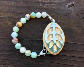 Amazonite beaded Bracelet for the Silver Bellabeat LEAF
