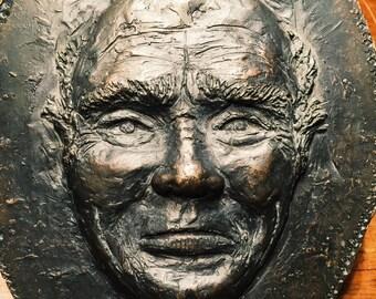 Creepy Metal Head Face Sculpture - Death Mask? - Vintage - Plate - Emblem - Halloween - Macabre