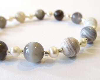 Botswana Agate Bracelet, Semi-Precious Stone Beaded Bracelet with Freshwater Pearls, Hill Tribe Silver, and Magnetic Clasp