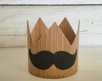 Mustache Birthday Party Hat Crown- Mustache Bash, Mustache Party, Baby Boy Birthday, Boy First Birthday, Little Man, Wood Crown