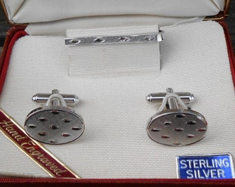 Vintage Sterling Silver Cufflinks And Silver Tie Clip. 1980's. Sterling Silver. Gift For Groomsmen, Groom, Dad, Husband.
