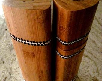 Handpainted Bamboo Salt Shaker and Pepper Mill Set