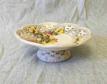 Vintage Lefton Autumn Leaves Footed Bon Bon Plate with Basketweave Design, Lefton Fall Compote