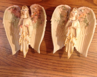 Vintage Christmas Angels  Folding Wings Ornaments Off White With Pastel