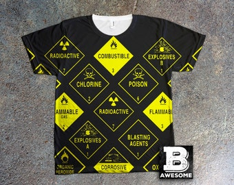 Industrial Danger Signs TShirt, All Over Print tee, warning signs shirt, radioactive symbol shirt, explosive  tshirt, poison shirt,
