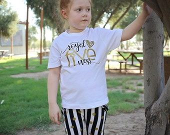 Five Birthday Shirt - 5 Birthday Shirt - Five Year Old - 5 Birthday - Girls Birthday Shirt - Birthday Top- Gold Birthday Shirt