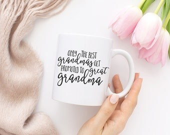 Only the best grandmas get promoted to great grandma, Great Grandmother, Coffee, Great Grandma Mug, Great grandma gift, Gifts for mom, MC84