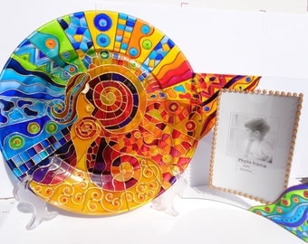 Set of 2 Birth plate & photo frame Glass painting Decorative plate Glass art