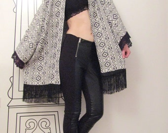Long Sleeve Kimono Vest /Boho Cardigan / Geometric Embroidery / Festival Fashion / Boho Style by FabraModaStudio / FAB401