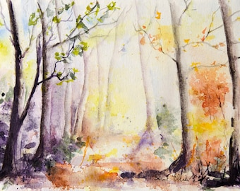 Original watercolor of undergrowth in autumn, trees in the forest -trees and branches at autumn, woods original painting