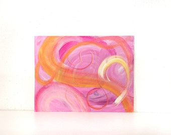 Pink and yellow abstract painting