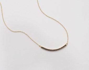 Black CZ Curved Bar Necklace, Dainty Minimal CZ Bar Necklace, Simple Layering Necklace in Sterling Silver, Gold, Rose Gold #D70B