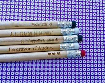 Pencils wood engraved, personalized, burn your pencil batch of 90 pens engraved with name, original stationery