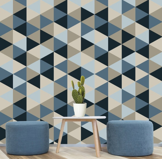 Geometric removable wallpaper blue navy creams self Painting geometric patterns on walls