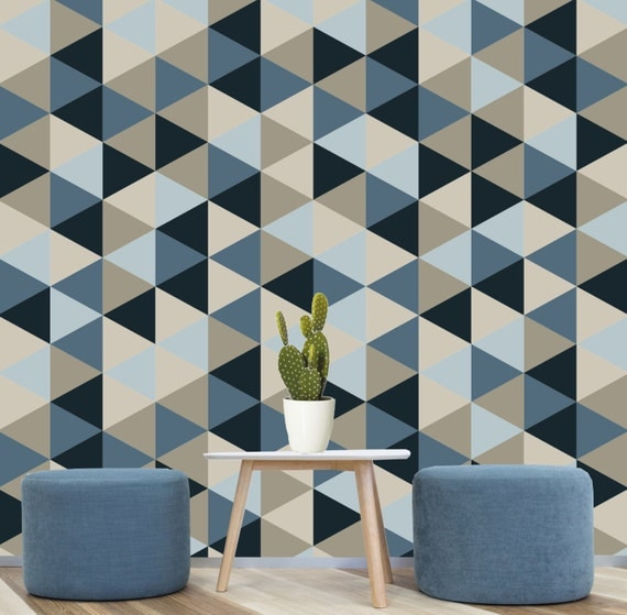 Geometric Removable Wallpaper Blue Navy Creams Self: painting geometric patterns on walls