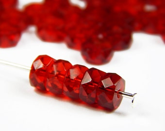 40 Pcs -  6x4mm  Faceted Czech Glass Disc Beads - Transparent Ruby Red - Rondelle - Czech Beads - Jewelry Supplies