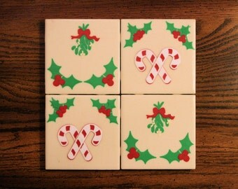 Candy Cane Christmas Tile Coasters