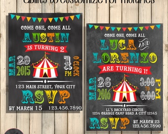 Circus Birthday Invitation, 1st Birthday Circus Party, Circus Birthday Party, Carnival Invite, Under Big Top Tent, Printed Invite or Digital