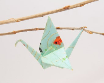 "Origami ""Crane pond Blue/Gold/dawn and Japanese carp""-brooch"