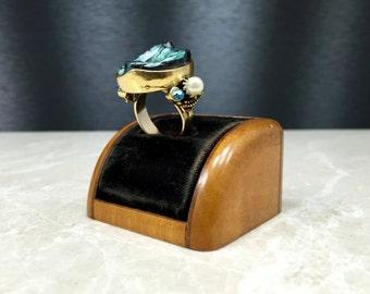 Hollycraft Ring, Vintage Hollycraft, Vintage 1960s, 1960s Ring, Vintage Teal Ring, Retro Hollycraft, Adjustable, Vintage 60s, 60s Ring