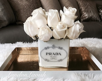 5x5x5 Prada Inspired Vase -with or without Flowers