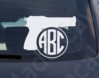 Pistol Monogram Sticker Handgun Decal Car Window Laptop Phone 2nd Amendment