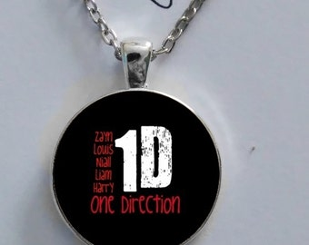 One Direction Harry Styles logo necklace glass pendant