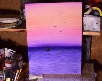 "Original acrylic canvas painting ""After sunset"""