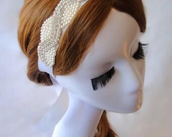 Wedding Hair Accessory, Rhinestone Headband, Pearl Headband, Bridal, Bridesmaid, Ribbon Headband, LOUISE
