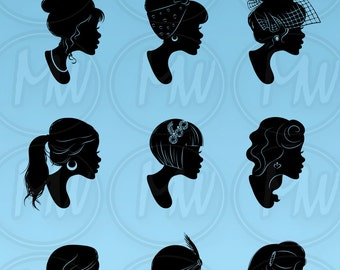 Woman, Profile, Silhouettes, Vintage, Detailed, Illustration, Women, Face, Frame, Profile, Silhouette, Head, Clipart, Instant Download, #102