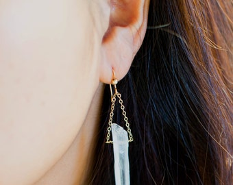 Classy Clear Quartz Dangle Earrings