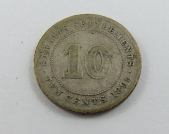 Straits Settlements 1895 Silver 10 Cents Coin.