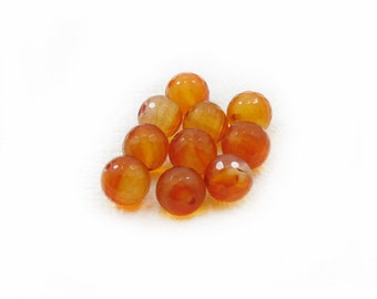 Carnelian Beads, Faceted beads, 10mm Carnelian Beads, Round Beads, 10 pcs Carnelian Beads, Jewelry Making, DIY Beads