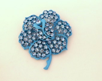 Vintage Signed WEISS Baby Blue Enamel and Rhinestone Flower Brooch