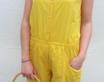 Vintage 1980's Sunshine yellow cotton sleeveless jumpsuit
