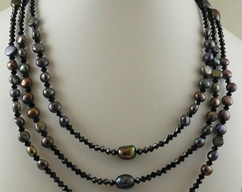 Freshwater Black Pearls & Black Austrian Crystal Necklace Silver Clasp
