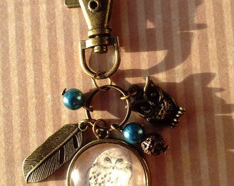 Owl keyring keychain, owl bag charm accessories, owl lover gift