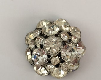 Vintage Clear Rhinestone Dome Button