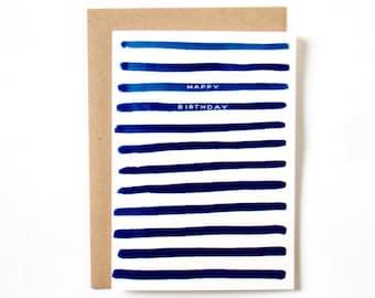 Happy Birthday Stripes Card 1pc