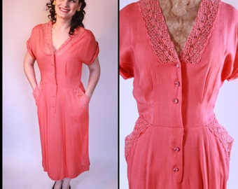 1950's Rose Pink Linen dress with pockets