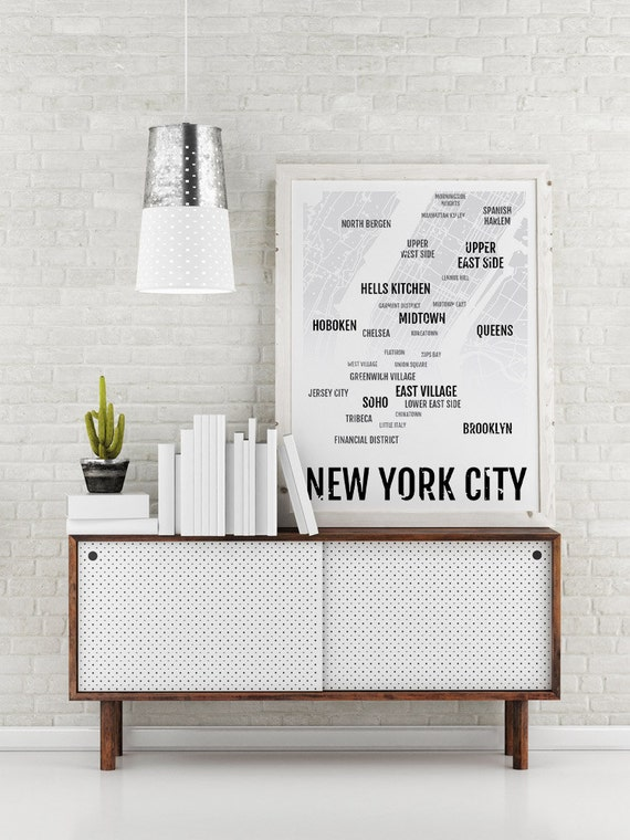 Nyc print new york city neighborhood map boyfriend gift for Interior design bedroom quotes