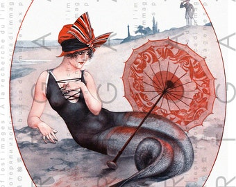 FLAPPER MERMAID. French Sensuous Art Deco Mermaid. Mermaid Illustration. Digital Mermaid Download. La Vie Parisiene.