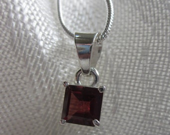 Square Garnet, Silver Pendant Necklace