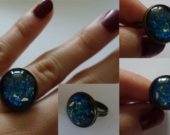 Blue, round, adjustable, handmade ring, one of a kind.