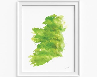 "Ireland watercolor Map, printable file (JPEG) download and print any size between 18""x24"" and 12""x16"", Art, Wall art, home decor"