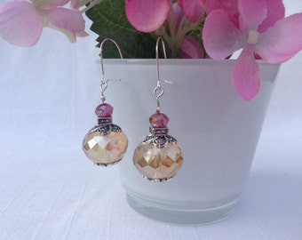 Amber and Red Glass Dangle Earrings