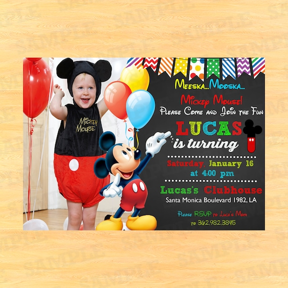 custom mickey mouse 1st birthday invitations by partyinstant